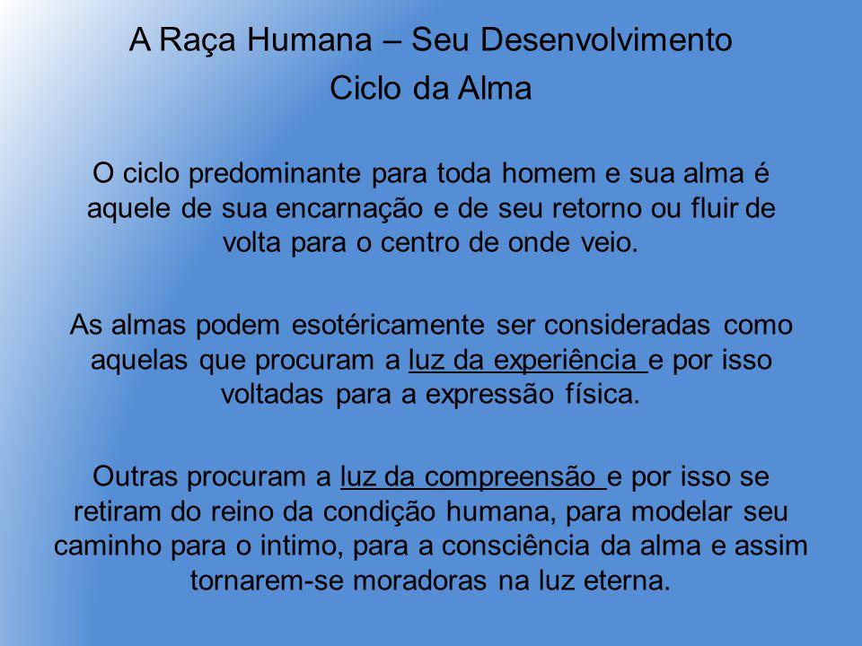 A Raça Humana – Seu Desenvolvimento Ciclo da Alma O ciclo predominante para toda homem e sua alma é aquele de sua encarnação e de seu retorno ou fluir de volta para o centro de onde veio.