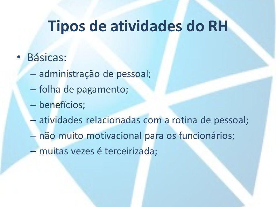 Tipos de atividades do RH Básicas: – administração de pessoal; – folha de pagamento; – benefícios; – atividades relacionadas com a rotina de pessoal;