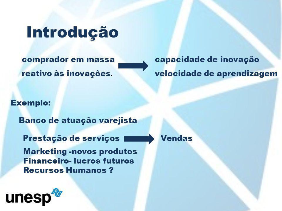 Introdução Banco de atuação varejista Prestação de serviçosVendas Marketing -novos produtos Financeiro- lucros futuros Recursos Humanos .