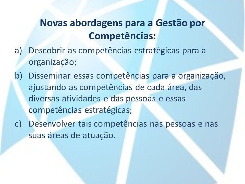 Novas abordagens para a Gestão por Competências: a)Descobrir as competências estratégicas para a organização; b)Disseminar essas competências para a o