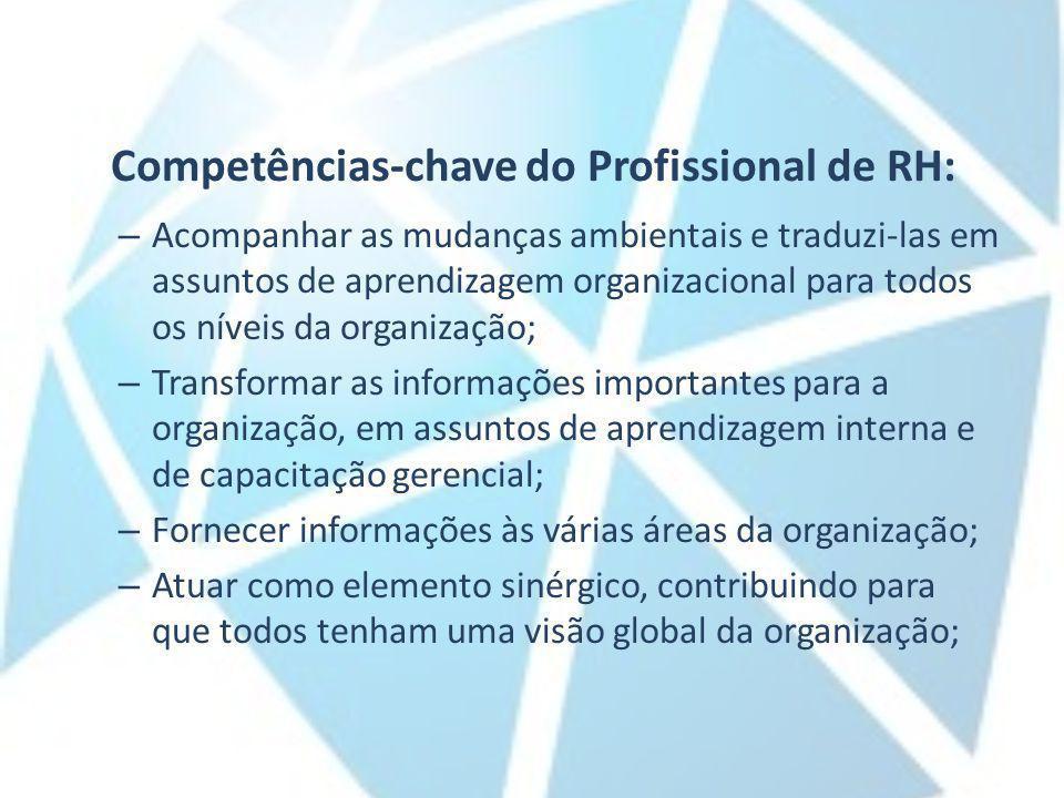 Competências-chave do Profissional de RH: – Acompanhar as mudanças ambientais e traduzi-las em assuntos de aprendizagem organizacional para todos os n