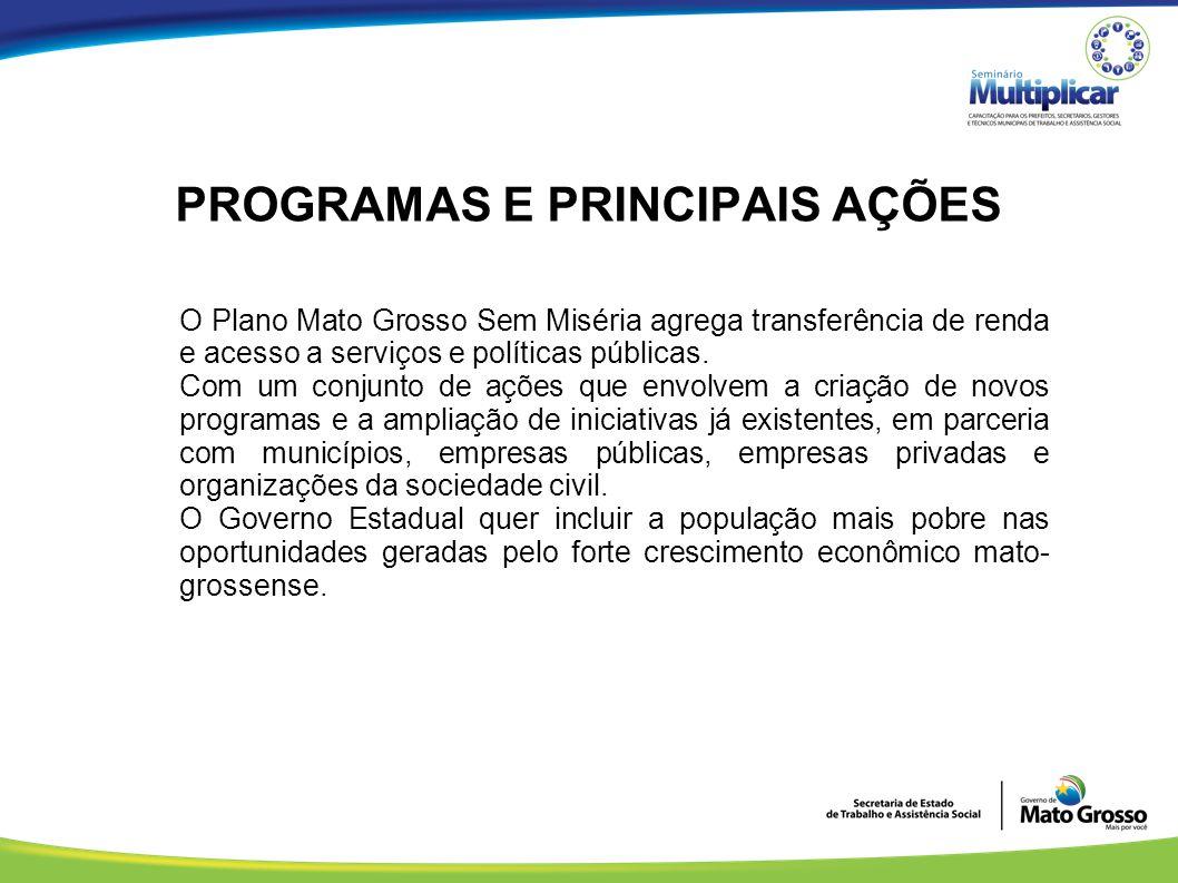PROGRAMAS E PRINCIPAIS AÇÕES O Plano Mato Grosso Sem Miséria agrega transferência de renda e acesso a serviços e políticas públicas. Com um conjunto d