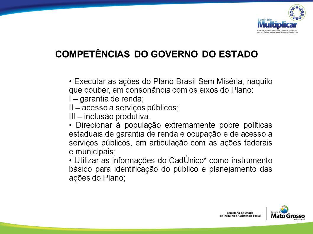 COMPETÊNCIAS DO GOVERNO DO ESTADO Executar as ações do Plano Brasil Sem Miséria, naquilo que couber, em consonância com os eixos do Plano: I – garanti