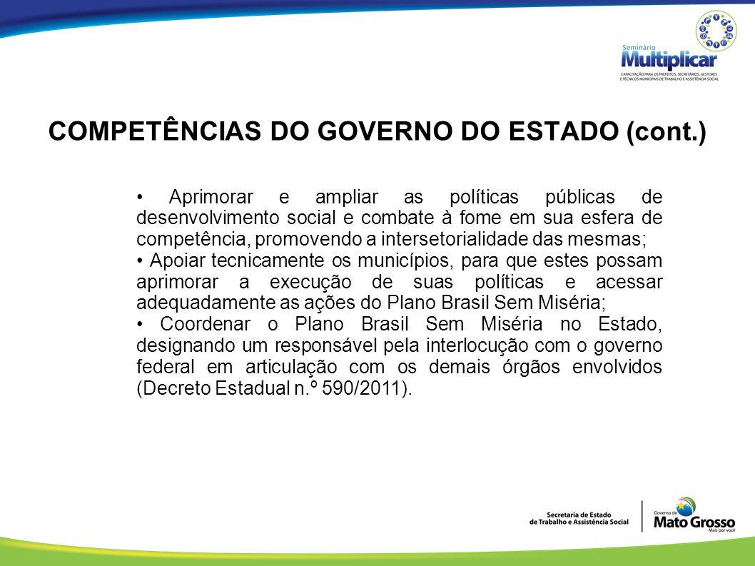 COMPETÊNCIAS DO GOVERNO DO ESTADO (cont.) Aprimorar e ampliar as políticas públicas de desenvolvimento social e combate à fome em sua esfera de compet