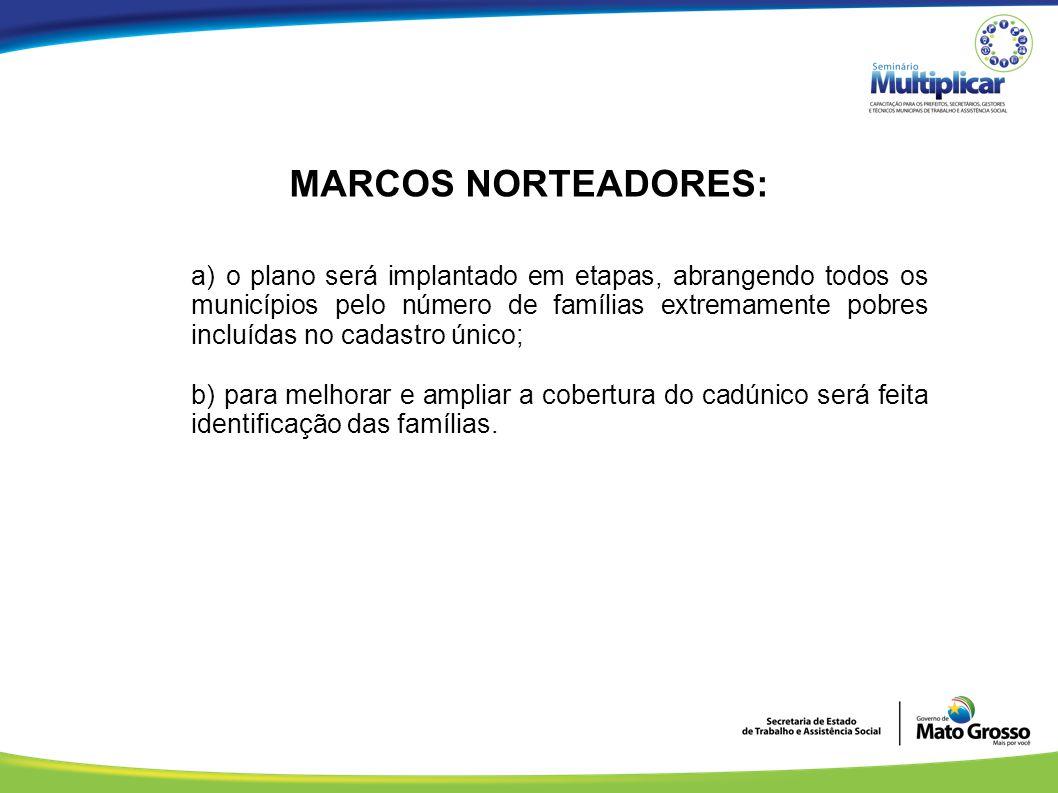 MARCOS NORTEADORES: a) o plano será implantado em etapas, abrangendo todos os municípios pelo número de famílias extremamente pobres incluídas no cada
