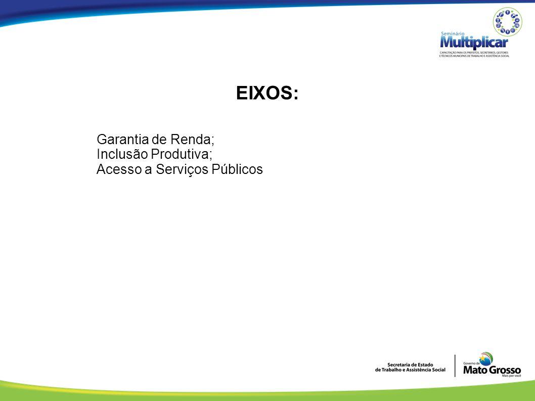EIXOS: Garantia de Renda; Inclusão Produtiva; Acesso a Serviços Públicos.