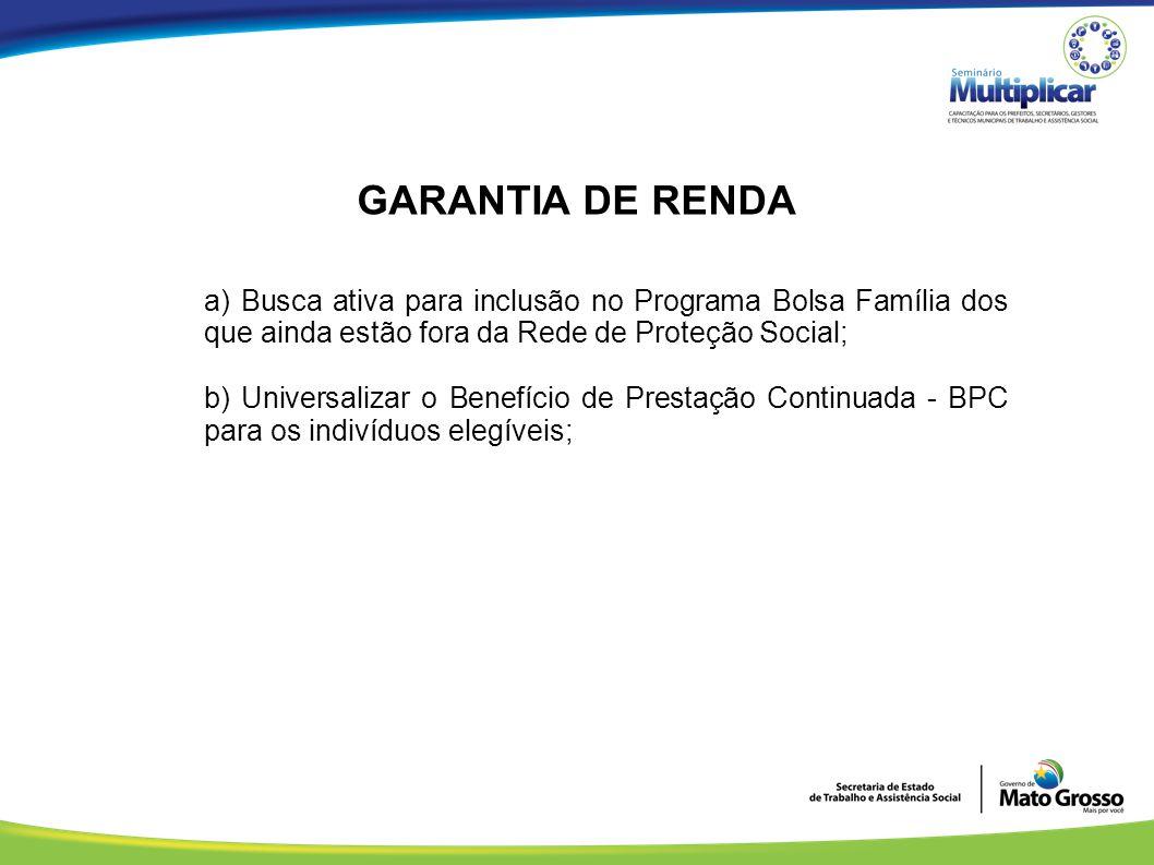 GARANTIA DE RENDA a) Busca ativa para inclusão no Programa Bolsa Família dos que ainda estão fora da Rede de Proteção Social; b) Universalizar o Benef
