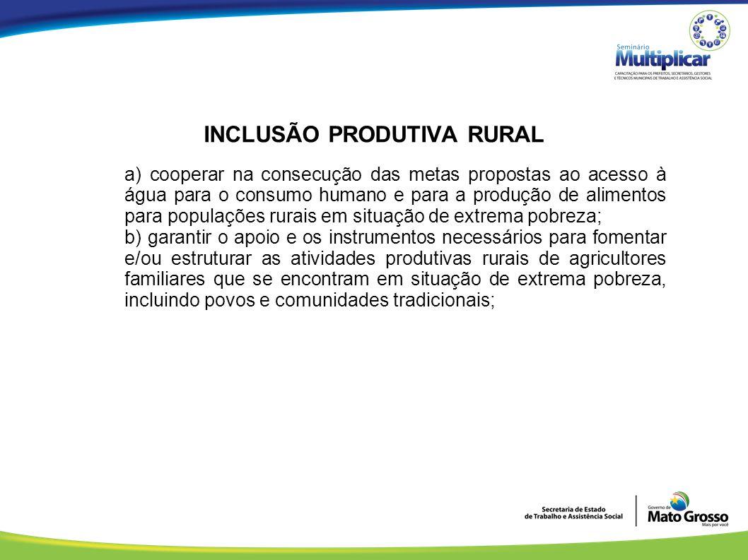 INCLUSÃO PRODUTIVA RURAL a) cooperar na consecução das metas propostas ao acesso à água para o consumo humano e para a produção de alimentos para popu