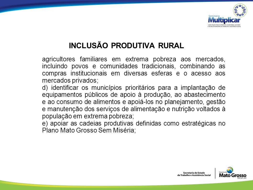 INCLUSÃO PRODUTIVA RURAL agricultores familiares em extrema pobreza aos mercados, incluindo povos e comunidades tradicionais, combinando as compras in