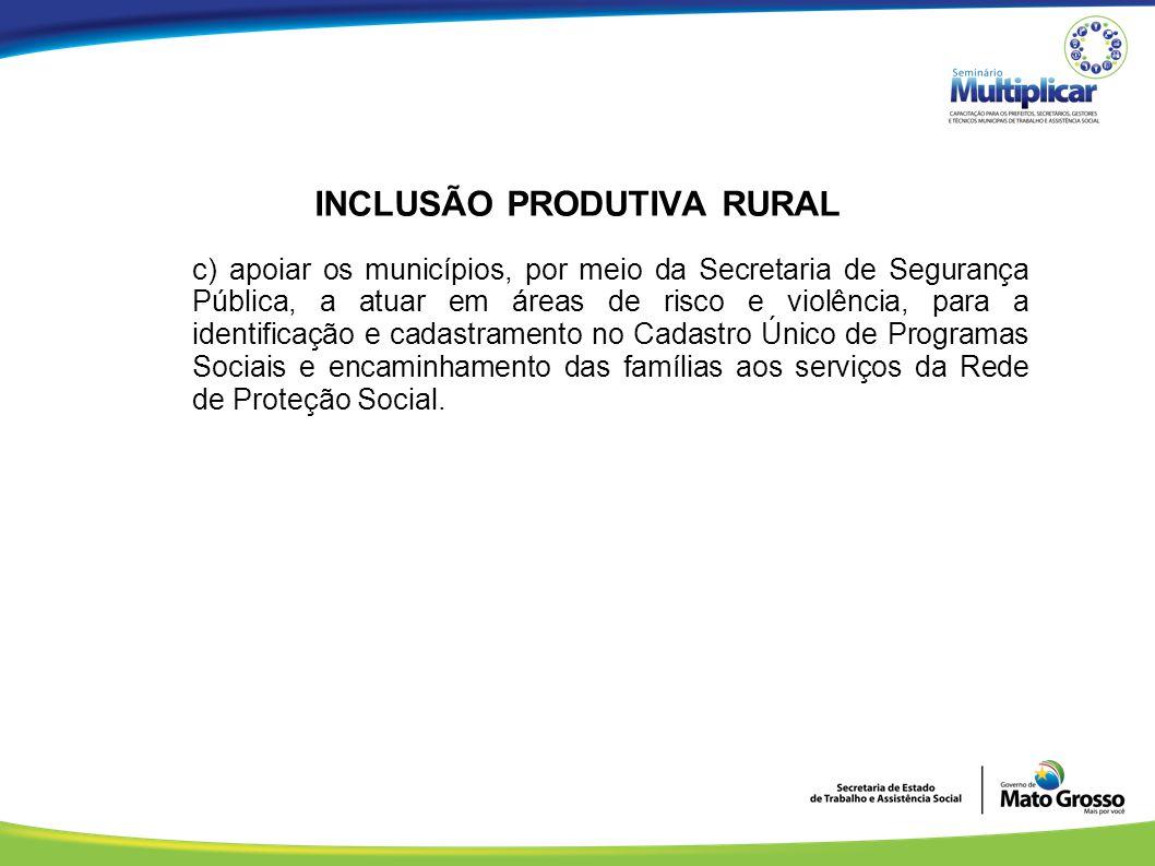 INCLUSÃO PRODUTIVA RURAL c) apoiar os municípios, por meio da Secretaria de Segurança Pública, a atuar em áreas de risco e violência, para a identific