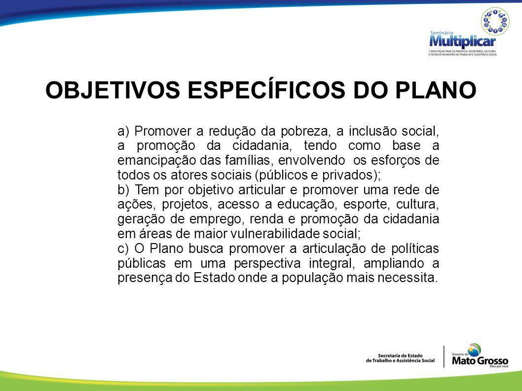 OBJETIVOS ESPECÍFICOS DO PLANO a) Promover a redução da pobreza, a inclusão social, a promoção da cidadania, tendo como base a emancipação das família
