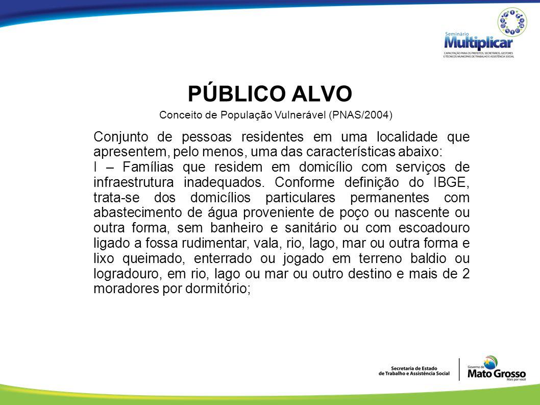 PÚBLICO ALVO Conceito de População Vulnerável (PNAS/2004) Conjunto de pessoas residentes em uma localidade que apresentem, pelo menos, uma das caracte