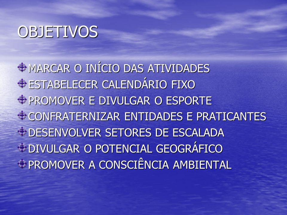 OBJETIVOS MARCAR O INÍCIO DAS ATIVIDADES ESTABELECER CALENDÁRIO FIXO PROMOVER E DIVULGAR O ESPORTE CONFRATERNIZAR ENTIDADES E PRATICANTES DESENVOLVER SETORES DE ESCALADA DIVULGAR O POTENCIAL GEOGRÁFICO PROMOVER A CONSCIÊNCIA AMBIENTAL