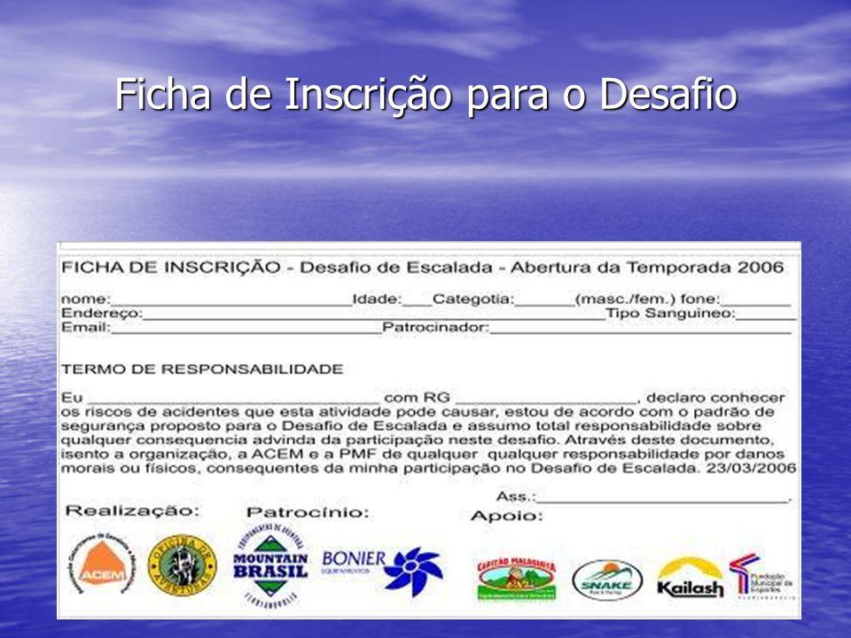 Ficha de Inscrição para o Desafio