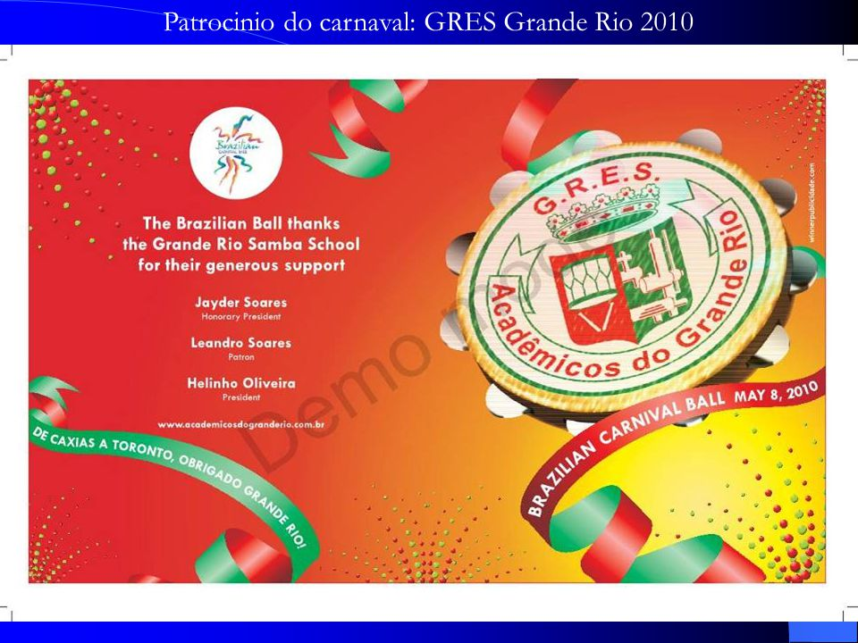 Patrocinio do carnaval: GRES Grande Rio 2010