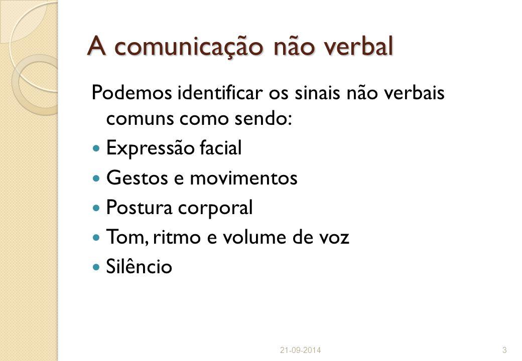 A comunicação não verbal Podemos identificar os sinais não verbais comuns como sendo: Expressão facial Gestos e movimentos Postura corporal Tom, ritmo