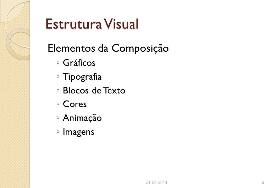 Estrutura Visual Elementos da Composição ◦ Gráficos ◦ Tipografia ◦ Blocos de Texto ◦ Cores ◦ Animação ◦ Imagens 21-09-20148