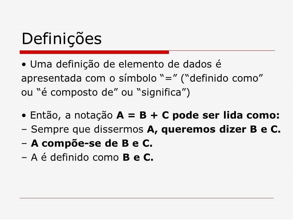 Definições Uma definição de elemento de dados é apresentada com o símbolo = ( definido como ou é composto de ou significa ) Então, a notação A = B + C pode ser lida como: – Sempre que dissermos A, queremos dizer B e C.