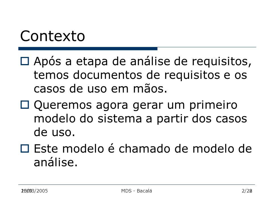 2009MDS - Bacalá215/03/20052/28 Contexto  Após a etapa de análise de requisitos, temos documentos de requisitos e os casos de uso em mãos.  Queremos