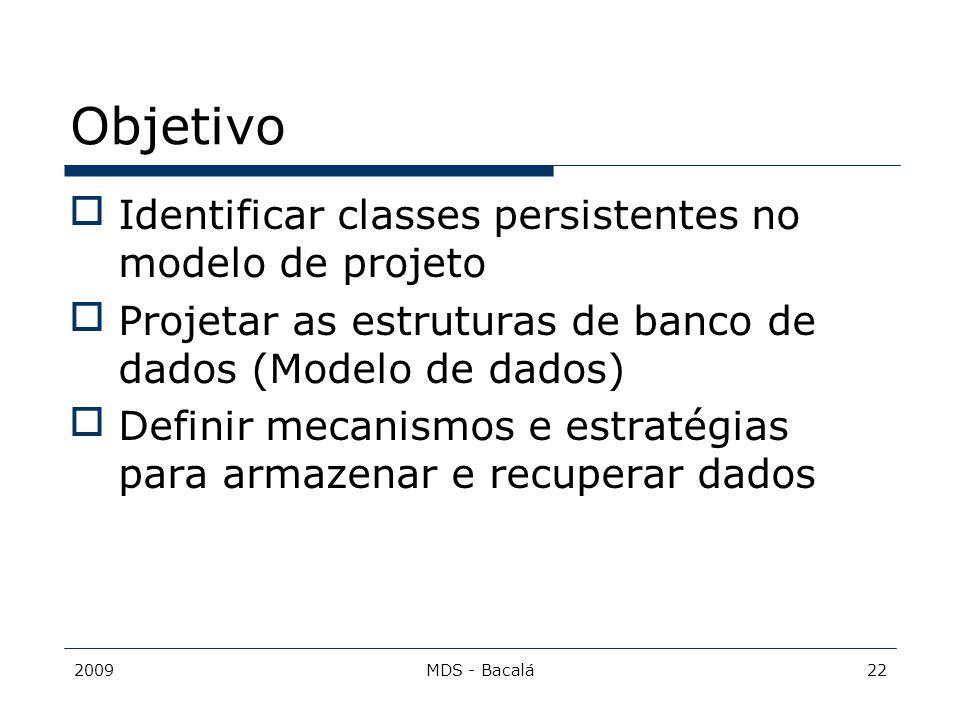 2009MDS - Bacalá22 Objetivo Identificar classes persistentes no modelo de projeto Projetar as estruturas de banco de dados (Modelo de dados) Defini