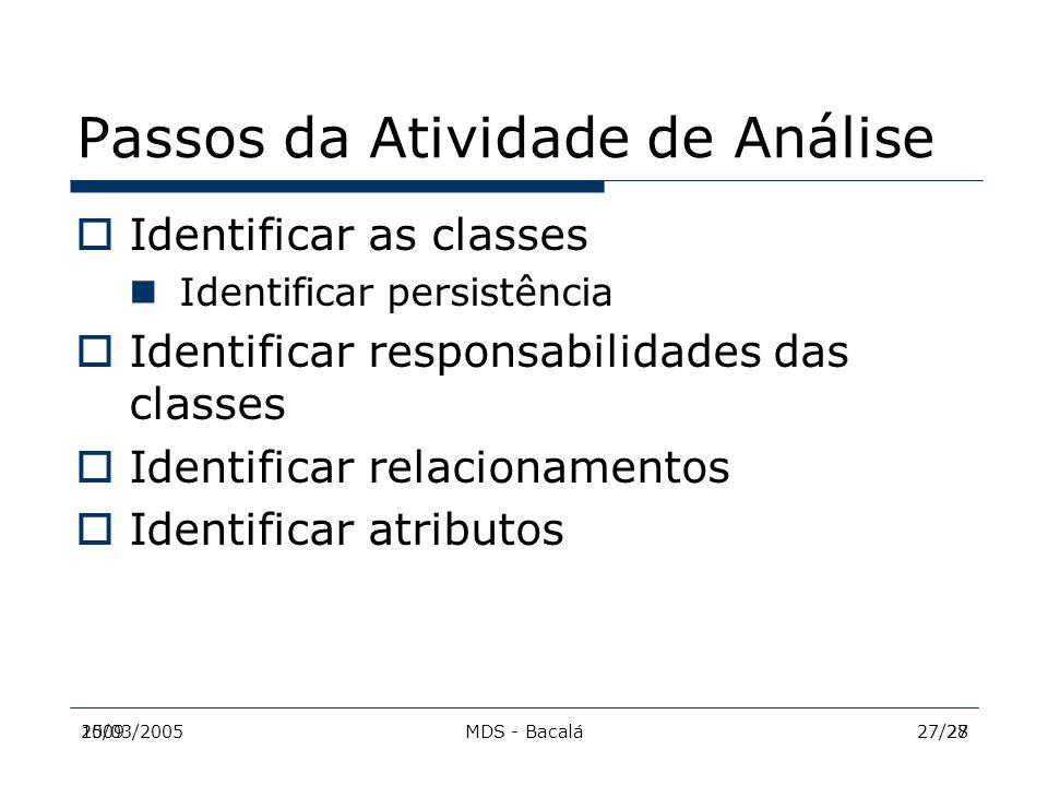 2009MDS - Bacalá2715/03/200527/28 Passos da Atividade de Análise  Identificar as classes Identificar persistência  Identificar responsabilidades das