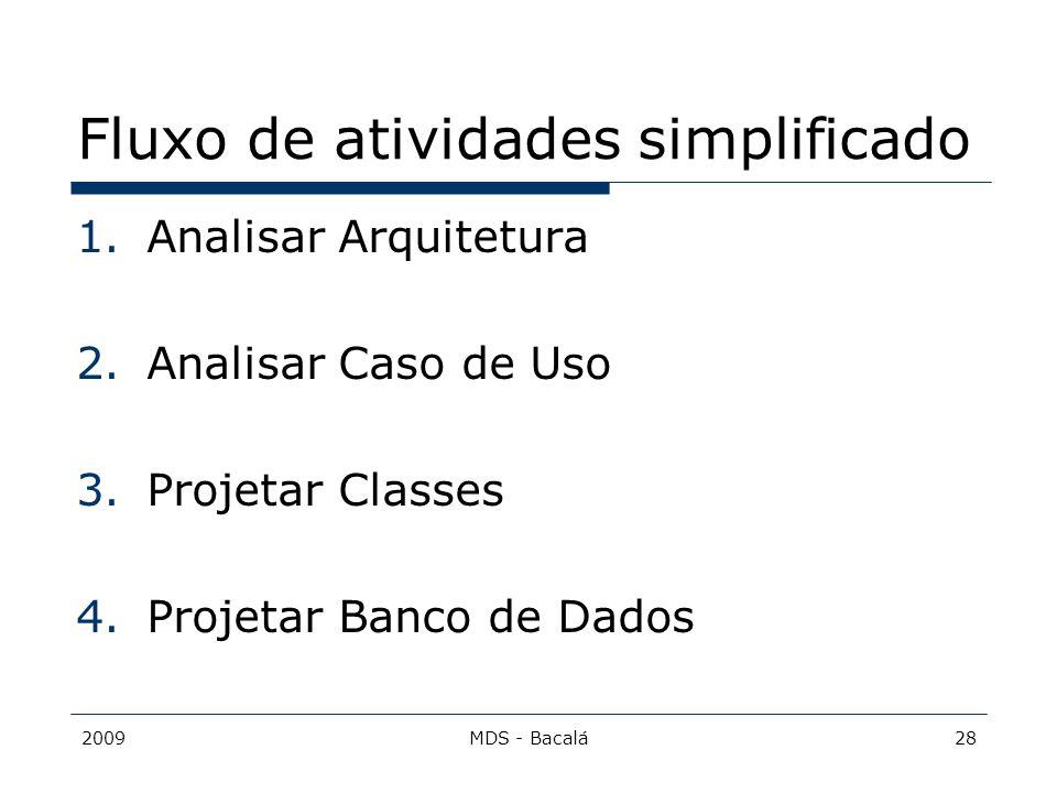 2009MDS - Bacalá28 Fluxo de atividades simplificado 1.Analisar Arquitetura 2.Analisar Caso de Uso 3.Projetar Classes 4.Projetar Banco de Dados