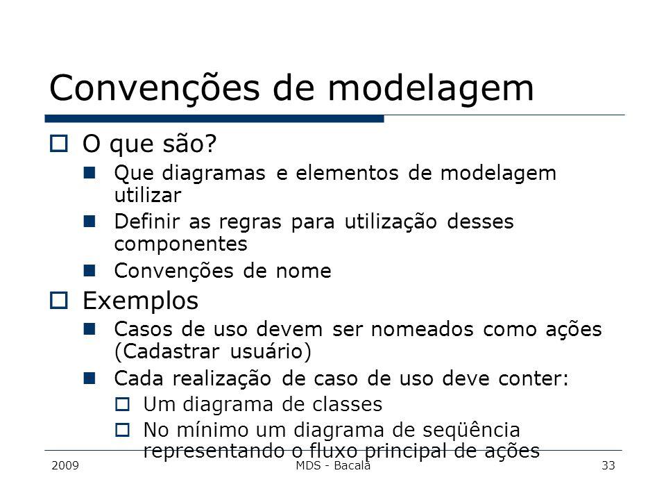 2009MDS - Bacalá33 Convenções de modelagem  O que são? Que diagramas e elementos de modelagem utilizar Definir as regras para utilização desses compo