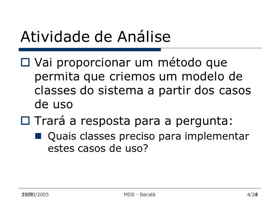 2009MDS - Bacalá515/03/20055/28 Análise & RUP  A maneira como vamos realizar a etapa de análise se baseia no processo do RUP (Rational Unified Process)  A análise será orientada a casos de uso, ou seja, os casos de uso servirão de guia para a etapa de análise