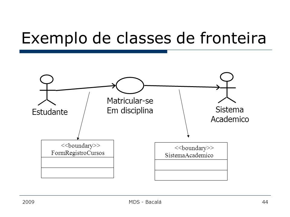 2009MDS - Bacalá44 Exemplo de classes de fronteira Matricular-se Em disciplina EstudanteSistema Academico > FormRegistroCursos > SistemaAcademico