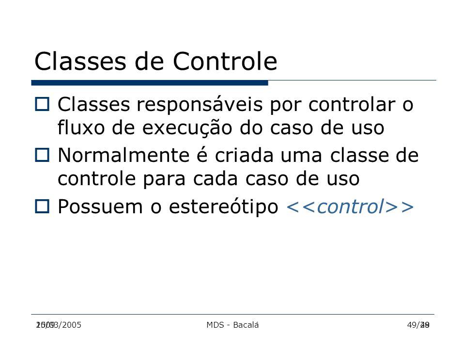 2009MDS - Bacalá4915/03/200549/28 Classes de Controle  Classes responsáveis por controlar o fluxo de execução do caso de uso  Normalmente é criada u