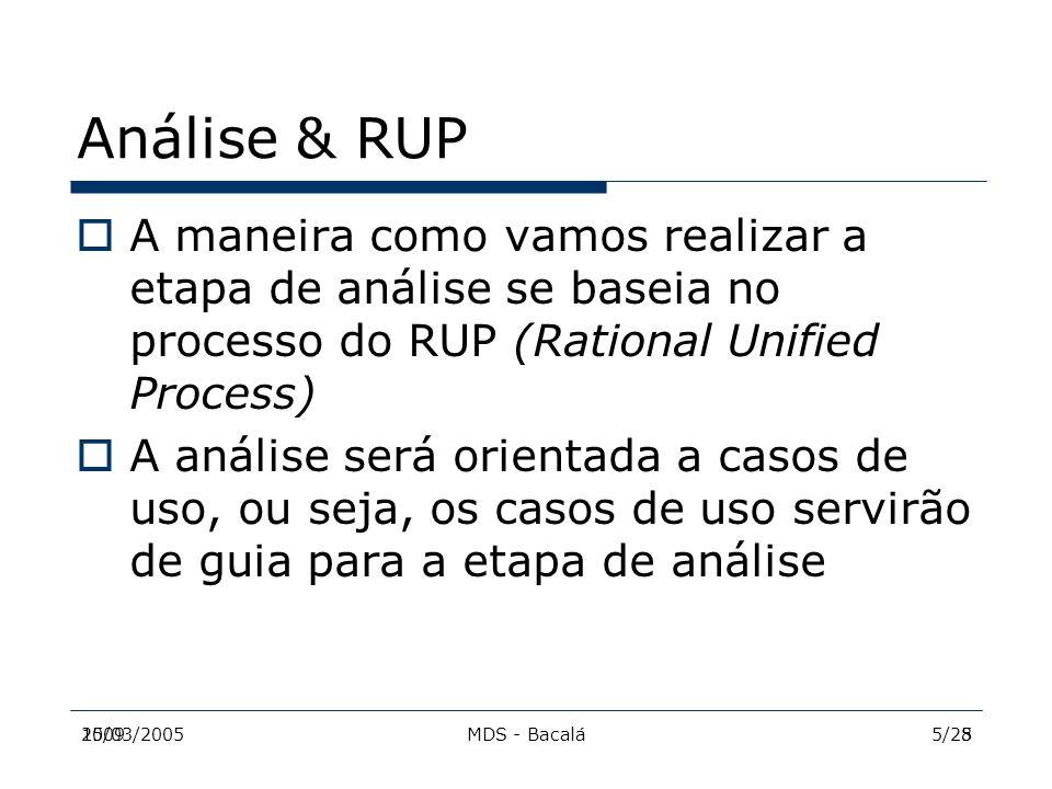 2009MDS - Bacalá515/03/20055/28 Análise & RUP  A maneira como vamos realizar a etapa de análise se baseia no processo do RUP (Rational Unified Proces