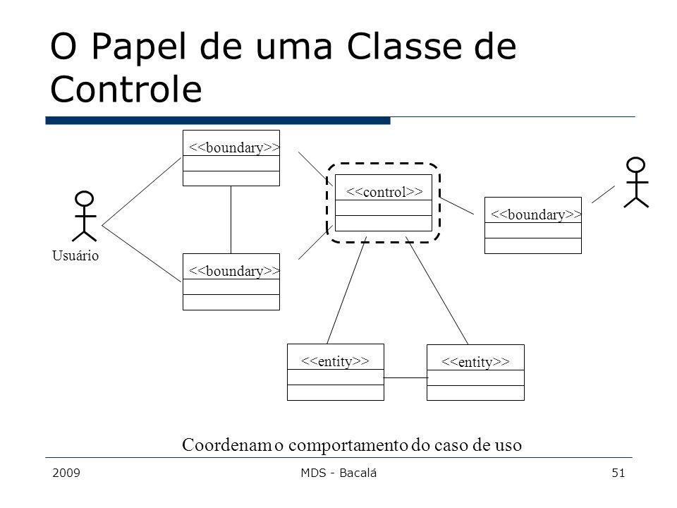 2009MDS - Bacalá51 O Papel de uma Classe de Controle > Usuário Coordenam o comportamento do caso de uso