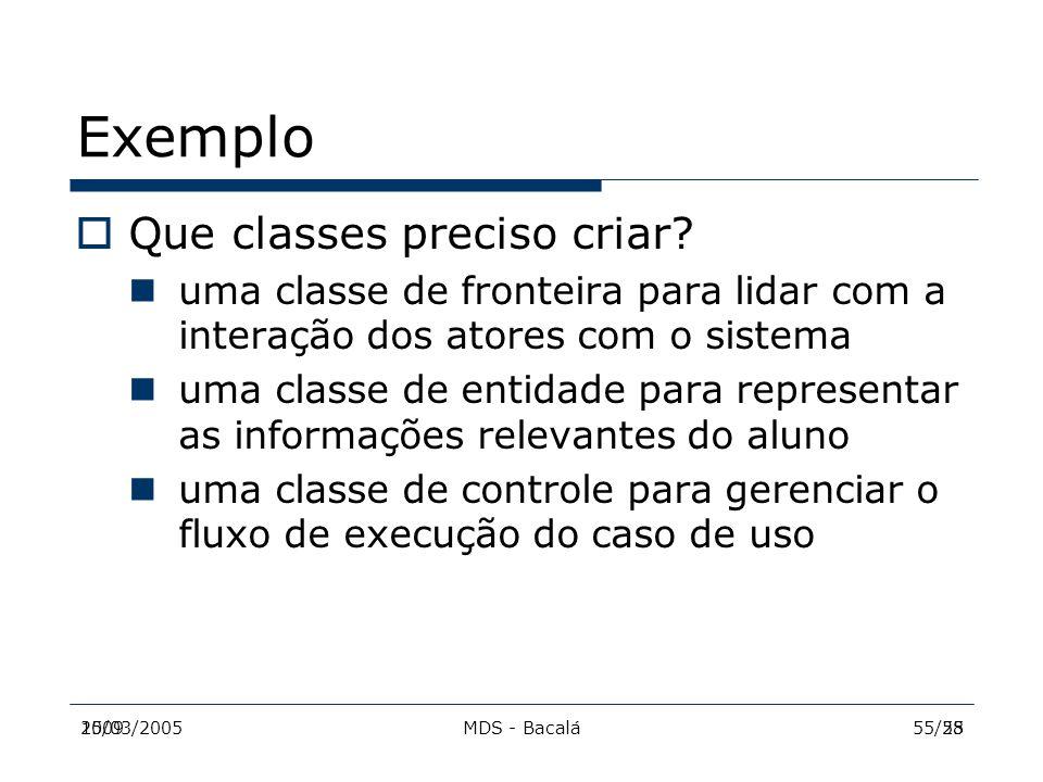2009MDS - Bacalá5515/03/200555/28 Exemplo  Que classes preciso criar? uma classe de fronteira para lidar com a interação dos atores com o sistema uma