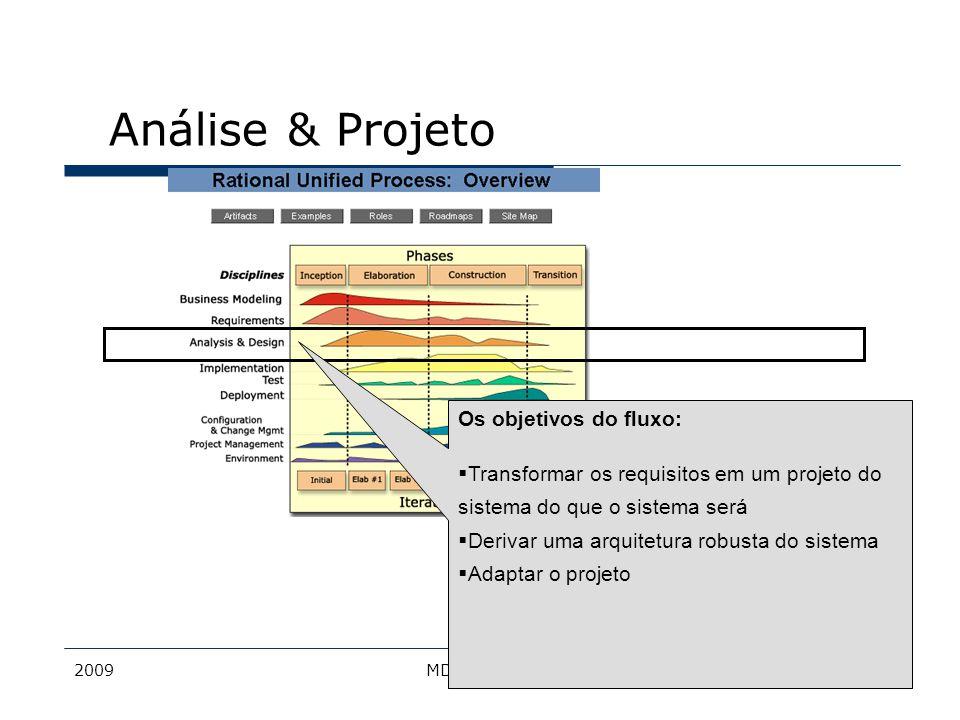 2009MDS - Bacalá18 Objetivo Transformar as descrições sobre o comportamento providas pelos caso de uso em um conjunto de elementos nos quais o modelo de projeto vai se basear