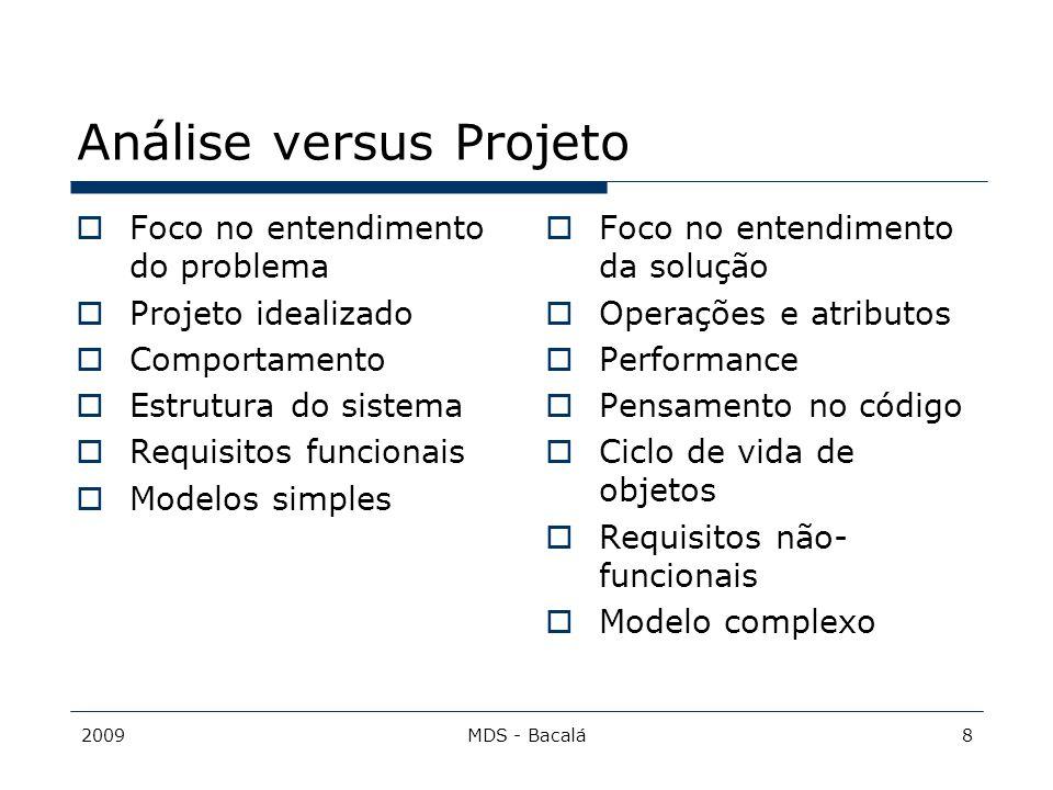 2009MDS - Bacalá8 Análise versus Projeto  Foco no entendimento do problema  Projeto idealizado  Comportamento  Estrutura do sistema  Requisitos f