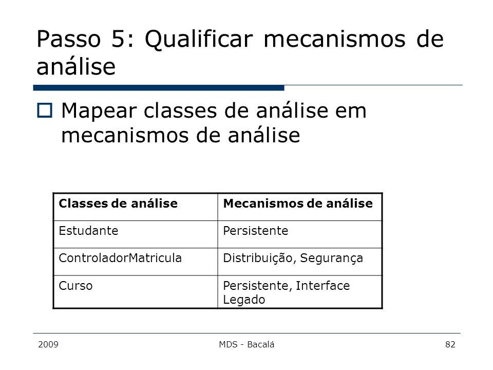 2009MDS - Bacalá82 Passo 5: Qualificar mecanismos de análise  Mapear classes de análise em mecanismos de análise Classes de análiseMecanismos de anál