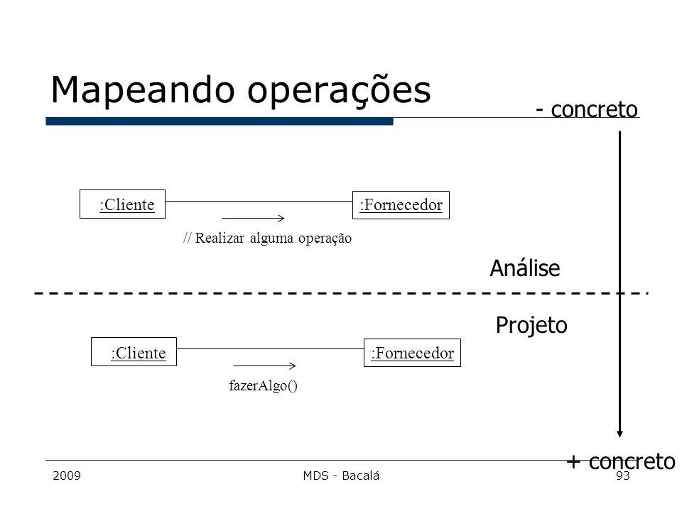 2009MDS - Bacalá93 :Fornecedor Mapeando operações :Cliente // Realizar alguma operação :Fornecedor :Cliente fazerAlgo() Projeto Análise + concreto - c