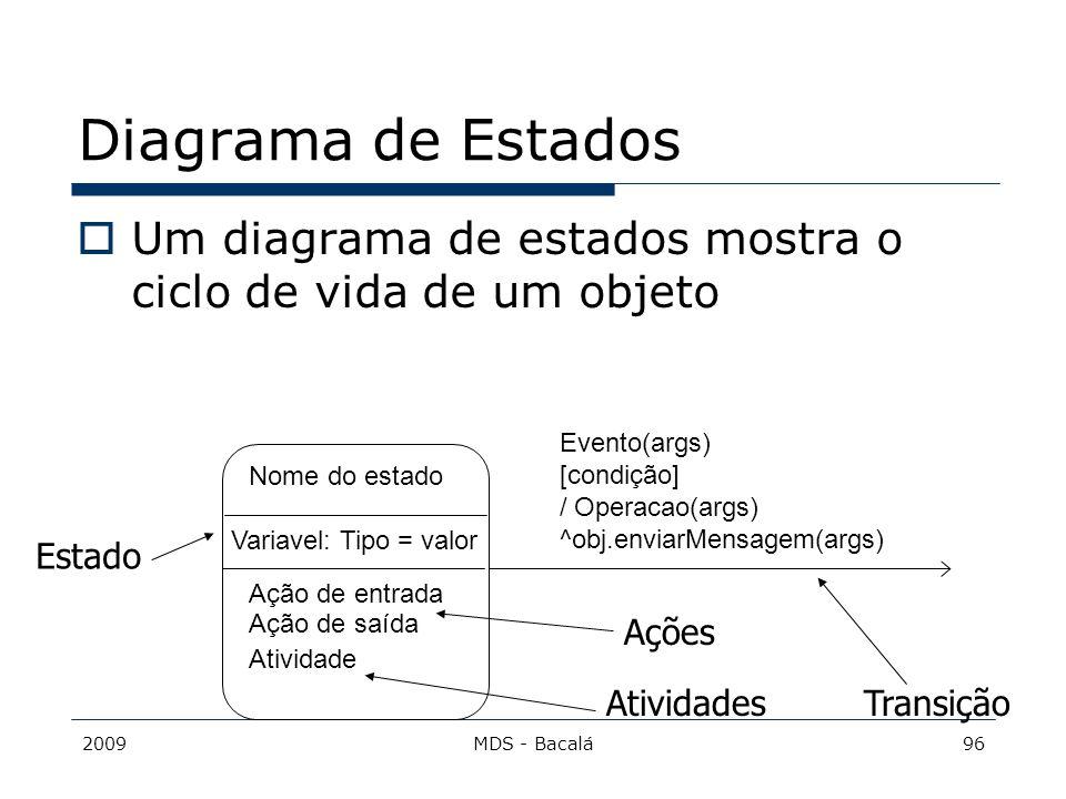 2009MDS - Bacalá96 Diagrama de Estados  Um diagrama de estados mostra o ciclo de vida de um objeto Nome do estado Variavel: Tipo = valor Ação de entr
