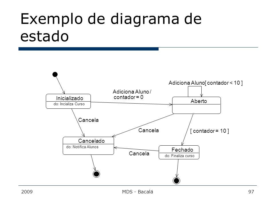 2009MDS - Bacalá97 Exemplo de diagrama de estado Inicializado Aberto Fechado Cancelado do: Incializa Curso do: Finaliza curso do: Notifica Alunos Adic