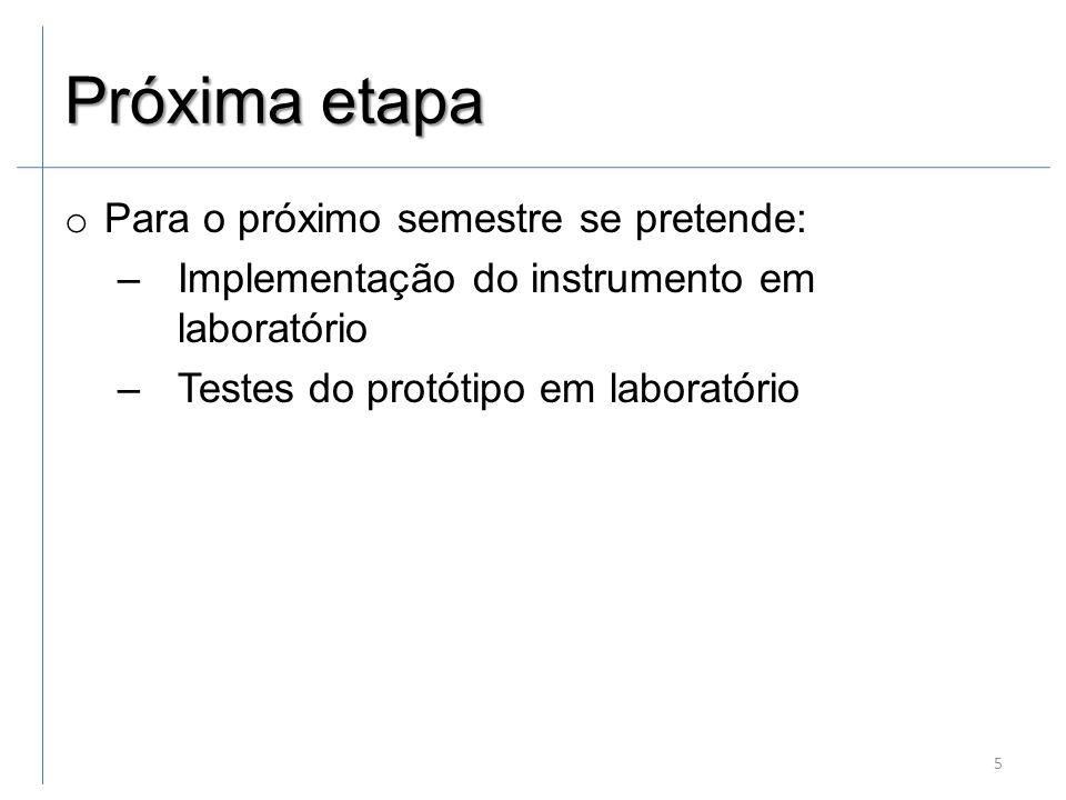 Próxima etapa o Para o próximo semestre se pretende: –Implementação do instrumento em laboratório –Testes do protótipo em laboratório 5