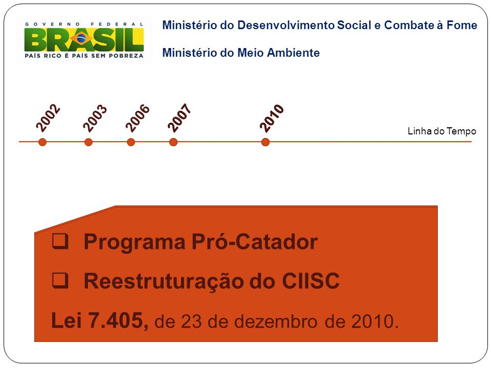"""2002 2003  Reconhecimento da categoria """"Catadores de Material Reciclável"""" (Código Brasileiro de Ocupações– 192/2002).  Instituição do CIISC (2003)."""