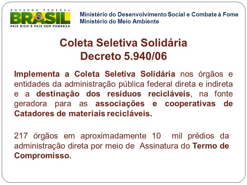 Implementa a Coleta Seletiva Solidária nos órgãos e entidades da administração pública federal direta e indireta e a destinação dos resíduos recicláve