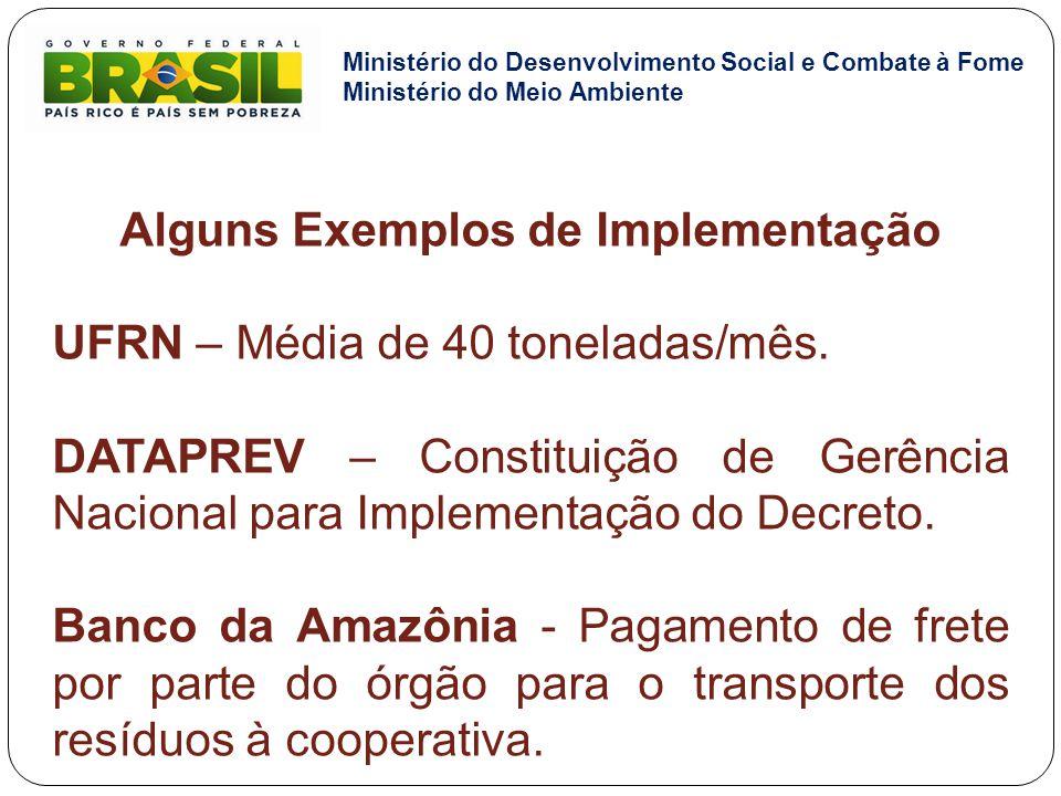 Alguns Exemplos de Implementação UFRN – Média de 40 toneladas/mês. DATAPREV – Constituição de Gerência Nacional para Implementação do Decreto. Banco d