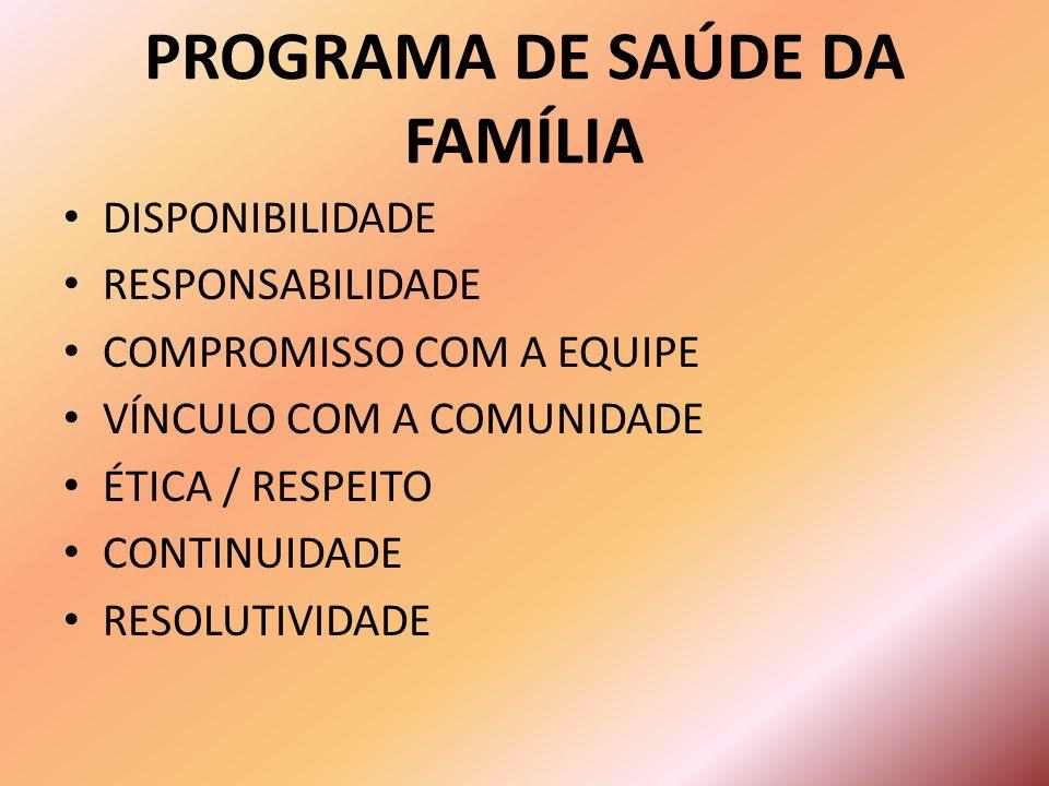 DISPONIBILIDADE RESPONSABILIDADE COMPROMISSO COM A EQUIPE VÍNCULO COM A COMUNIDADE ÉTICA / RESPEITO CONTINUIDADE RESOLUTIVIDADE PROGRAMA DE SAÚDE DA FAMÍLIA