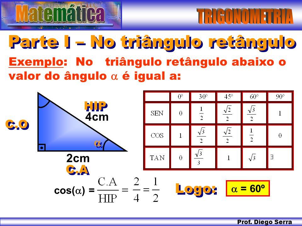 Prof. Diego Serra Parte I – No triângulo retângulo Logo: Exemplo: No triângulo retângulo abaixo o valor do ângulo  é igual a: 2cm 4cm  = 60º cos( 
