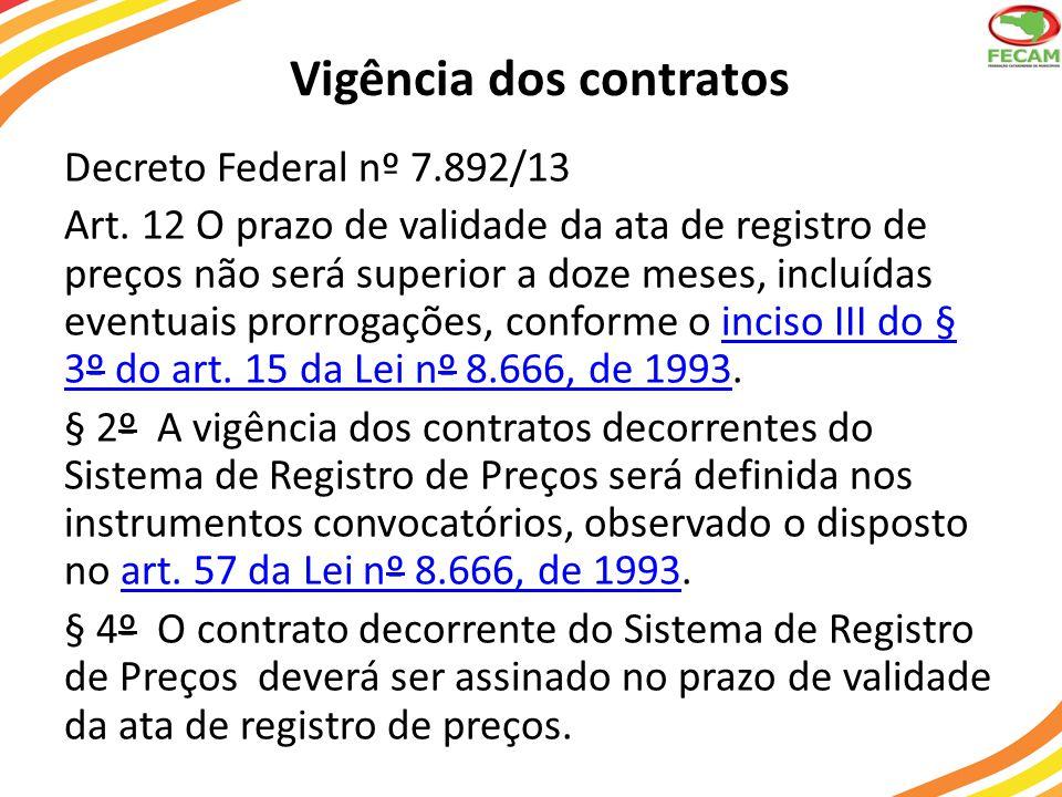 Vigência dos contratos Decreto Federal nº 7.892/13 Art. 12 O prazo de validade da ata de registro de preços não será superior a doze meses, incluídas
