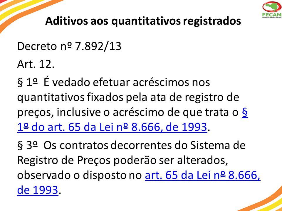 Aditivos aos quantitativos registrados Decreto nº 7.892/13 Art. 12. § 1º É vedado efetuar acréscimos nos quantitativos fixados pela ata de registro de