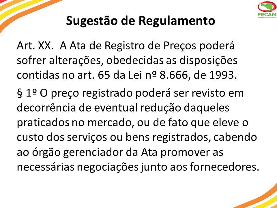 Sugestão de Regulamento Art. XX. A Ata de Registro de Preços poderá sofrer alterações, obedecidas as disposições contidas no art. 65 da Lei nº 8.666,