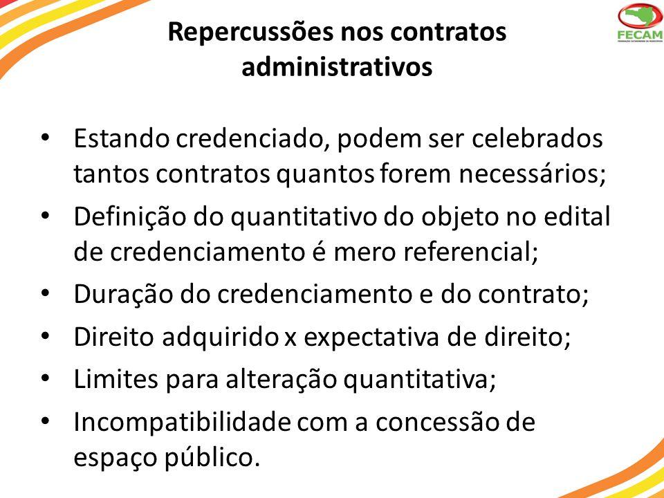 Repercussões nos contratos administrativos Estando credenciado, podem ser celebrados tantos contratos quantos forem necessários; Definição do quantita