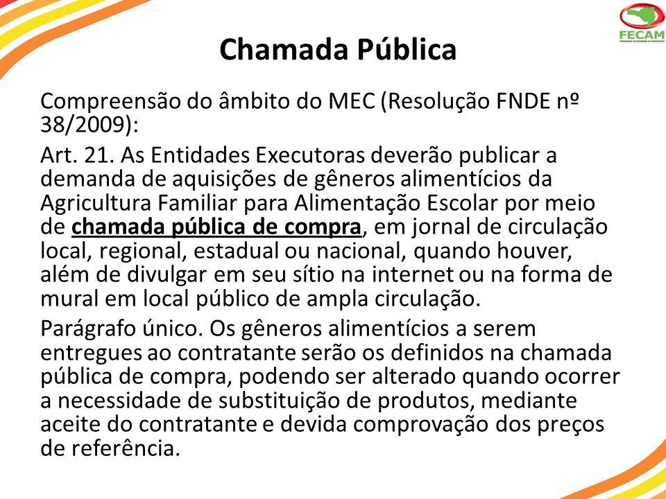 Chamada Pública Compreensão do âmbito do MEC (Resolução FNDE nº 38/2009): Art. 21. As Entidades Executoras deverão publicar a demanda de aquisições de